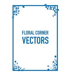 blue floral corners background set vector image vector image