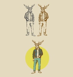 Cool Deer Hand Drawn vector image