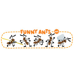funny small ants set children vector image vector image