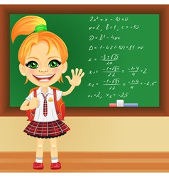 girl in a school uniform near blackboard vector image vector image