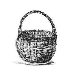 Hand sketch wicker basket vector image vector image
