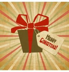 Retro Christmas Present Card vector image vector image