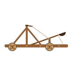 catapult medieval icon isolated wooden old war vector image
