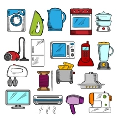 Home and kitchen appliances icons vector image vector image