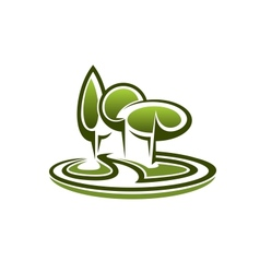Icon of green trees in a park vector image vector image
