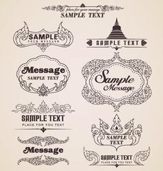 Thai vintage design elements and frames vector image