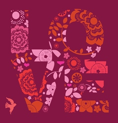 valentine day love message floral vector image vector image