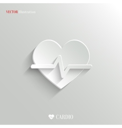 Cardiology icon - white app button vector image vector image