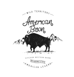Old label with bison vector image vector image