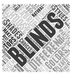 Styles of blinds shutters word cloud concept vector