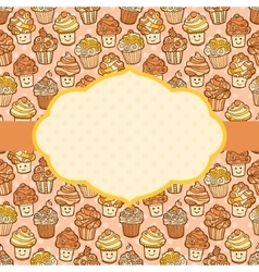 Textured background with cute doodle cupcakes vector image vector image