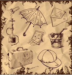Vacation icons collection on vintage background vector image vector image