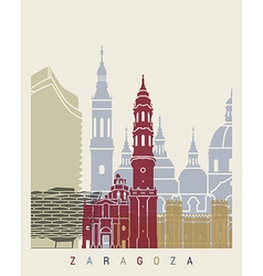 Zaragoza skyline poster vector image