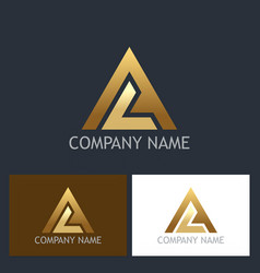 gold triangle shape colored logo vector image vector image
