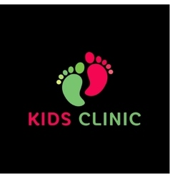logo Childrens health clinic the childs feet flat vector image vector image