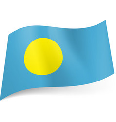 national flag of palau yellow circle on blue vector image