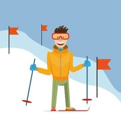 skier coming down the mountain vector image vector image