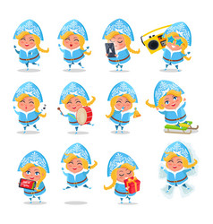 snow maiden icons collection vector image