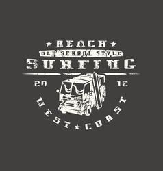 surfing bus emblem graphic design for t-shirt vector image