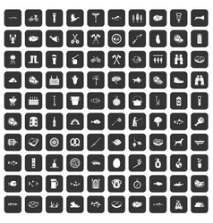 100 bbq icons set black vector