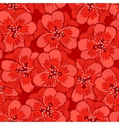 abstract red flowers seamless pattern vector image