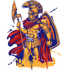 an a warrior character or sports mascot vector image