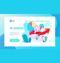 Android robot runs holding arrow graph sales vector