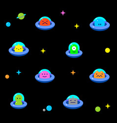 Baby ufo aliens cartoon black background pattern vector