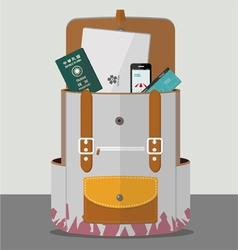 Backpack with goods vector