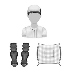 Baseball and attributes monochrome icons in set vector