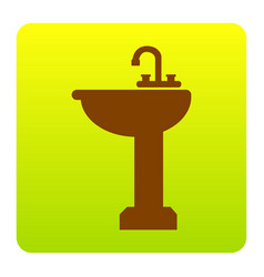 bathroom sink sign brown icon at green vector image