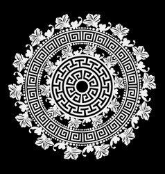 Black and white round floral greek mandala vector