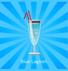 Blue lagoon drink with two straws cocktail mint vector