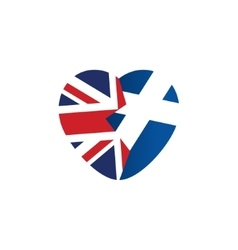 Brexit icon British flag Scottish flag Broken vector image