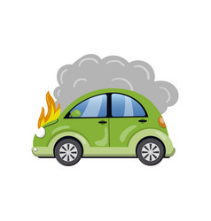 burning car auto fire breakdown cartoon vector image