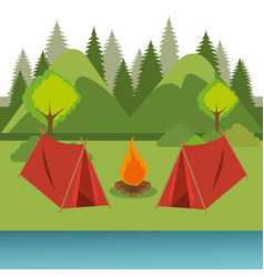 Camping zone with tent and campfire vector
