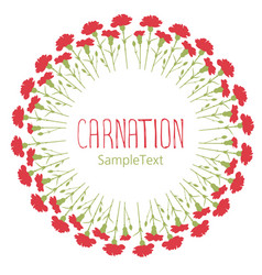 carnations wreath circle text hand drawn isolated vector image