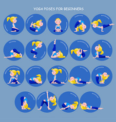 Cartoon blonde girl in yoga poses with titles for vector