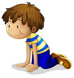 Cartoon boy kneeling vector