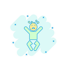 cartoon crying baby icon in comic style anger vector image