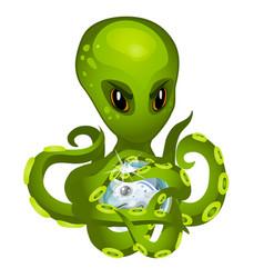 cartoon green alien octopus holding in tentacles vector image