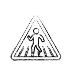 caution sign crosswalking pedestrian vector image