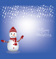 christmas card with a snowman vector image