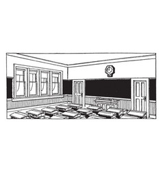 classroom filled with desks or school building vector image