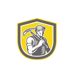 Coal Miner Pick Axe Shield Retro vector image