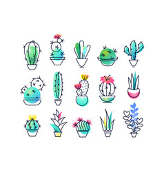 Colorful icons set of indoor plants vector