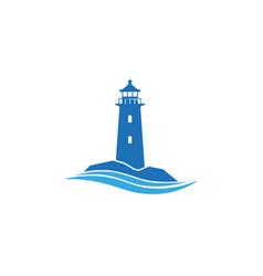 Creative abstract blue lighthouse waves logo vector