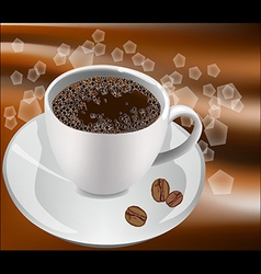 Cup of coffee on a white background with coffee be vector image