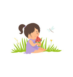 cute happy girl sitting on green meadow and eating vector image
