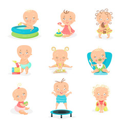 Cute little babies and their daily routine set vector